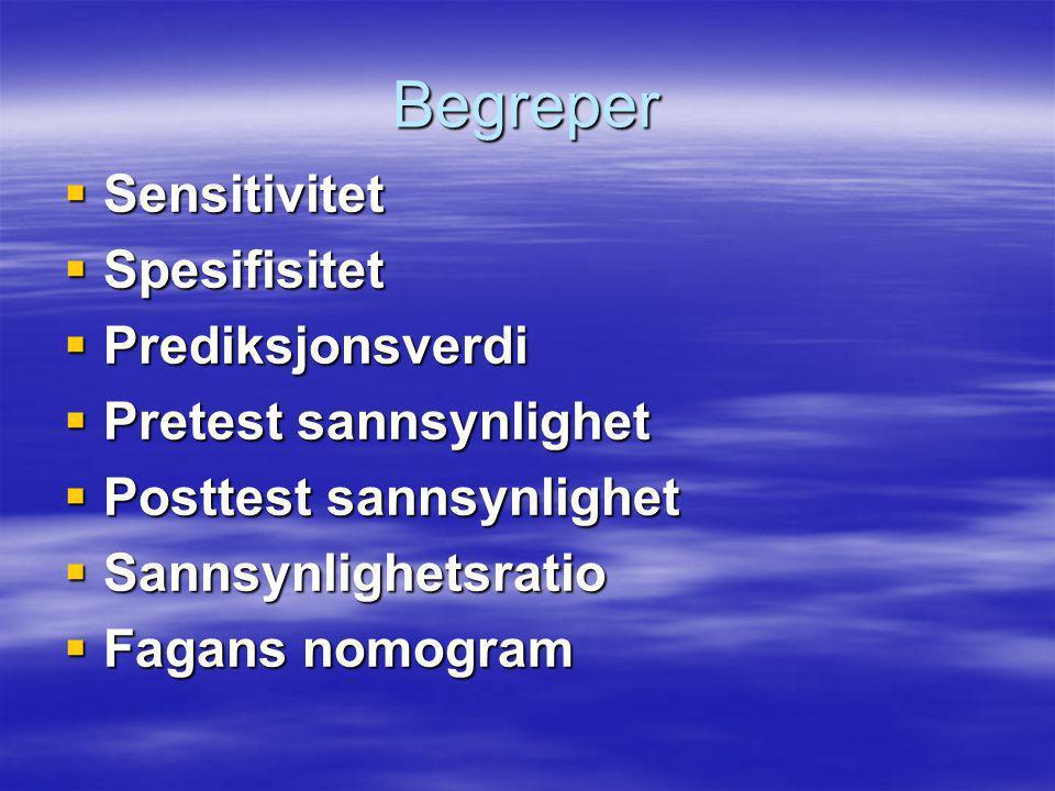 Begreper  Sensitivitet  Spesifisitet  Prediksjonsverdi  Pretest sannsynlighet  Posttest sannsynlighet  Sannsynlighetsratio  Fagans nomogram