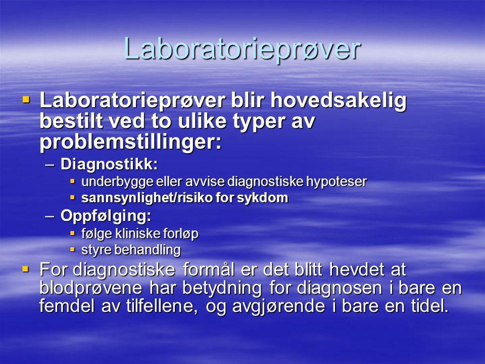 Sensitivitet Labtest positiv Labtest negativ Med en gitt sykdom Sanne positive (SP) Falske negative (FN) Uten en gitt sykdom Falske positive (FP) Sanne negative (SN) Hyppighet av positivt lab-resultet ved en gitt sykdom