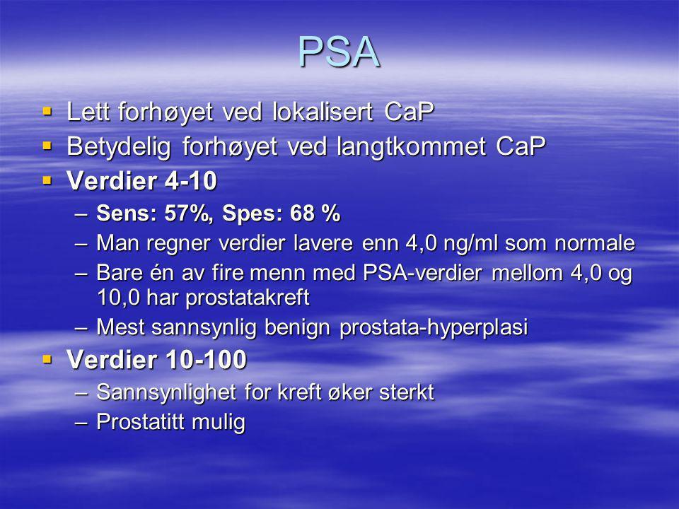 PSA  Lett forhøyet ved lokalisert CaP  Betydelig forhøyet ved langtkommet CaP  Verdier 4-10 –Sens: 57%, Spes: 68 % –Man regner verdier lavere enn 4,0 ng/ml som normale –Bare én av fire menn med PSA-verdier mellom 4,0 og 10,0 har prostatakreft –Mest sannsynlig benign prostata-hyperplasi  Verdier 10-100 –Sannsynlighet for kreft øker sterkt –Prostatitt mulig