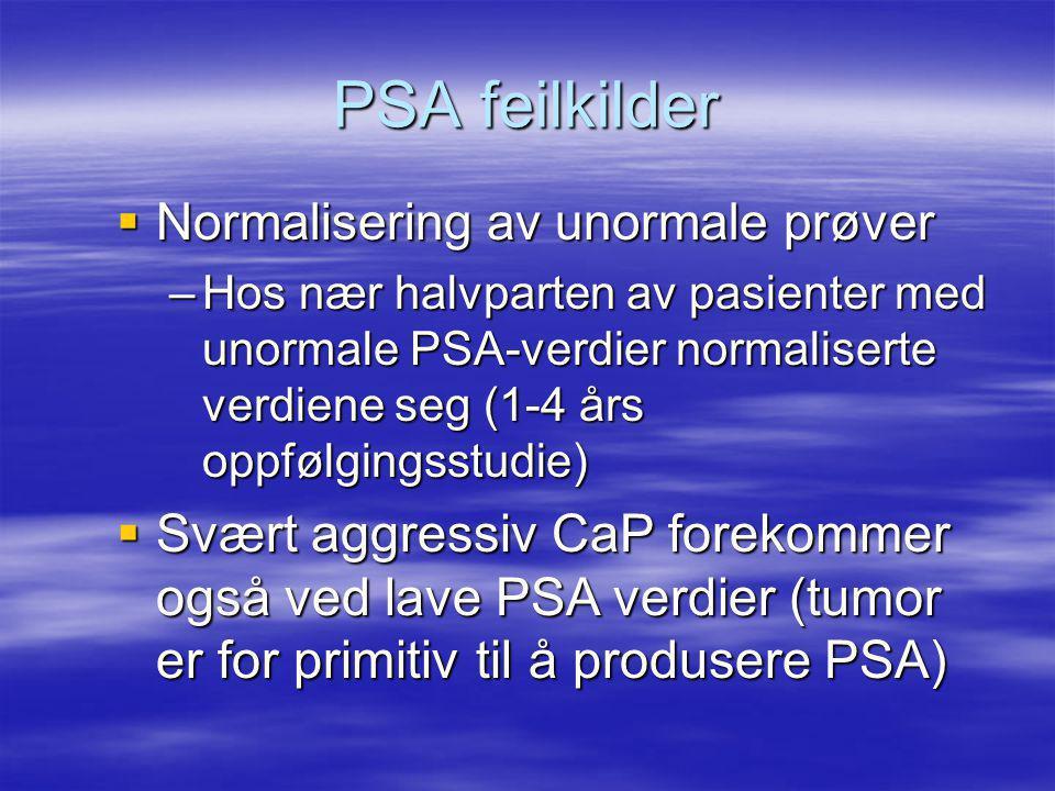 PSA feilkilder  Normalisering av unormale prøver –Hos nær halvparten av pasienter med unormale PSA-verdier normaliserte verdiene seg (1-4 års oppfølgingsstudie)  Svært aggressiv CaP forekommer også ved lave PSA verdier (tumor er for primitiv til å produsere PSA)
