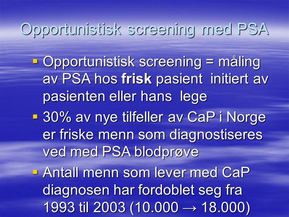 Opportunistisk screening med PSA  Opportunistisk screening = måling av PSA hos frisk pasient initiert av pasienten eller hans lege  30% av nye tilfeller av CaP i Norge er friske menn som diagnostiseres ved med PSA blodprøve  Antall menn som lever med CaP diagnosen har fordoblet seg fra 1993 til 2003 (10.000 → 18.000)