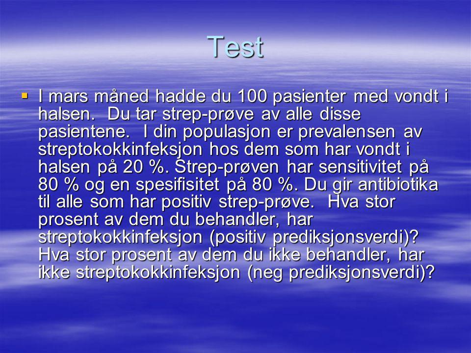 Falske positive: 16 Falske negative: 4 PosNeg Syk16420 Frisk166480 3268100 Positiv prediksjonsverdi: 50 % Negativ prediksjonsverdi: 94 %