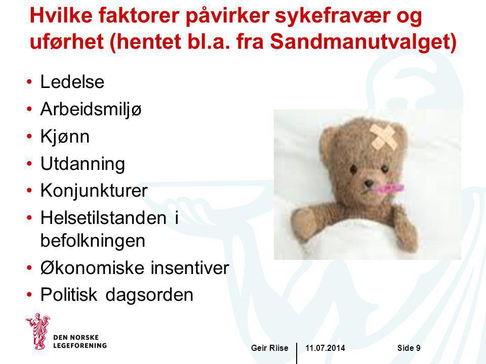 11.07.2014Geir RiiseSide 9 Hvilke faktorer påvirker sykefravær og uførhet (hentet bl.a. fra Sandmanutvalget) Ledelse Arbeidsmiljø Kjønn Utdanning Konj