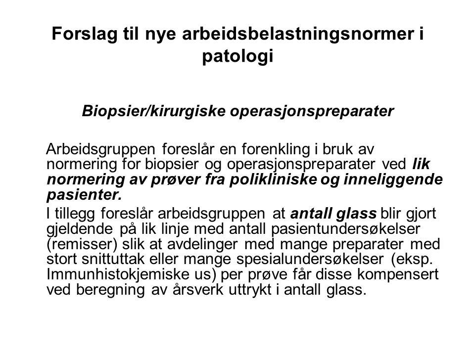 Forslag til nye arbeidsbelastningsnormer i patologi Biopsier/kirurgiske operasjonspreparater forts.