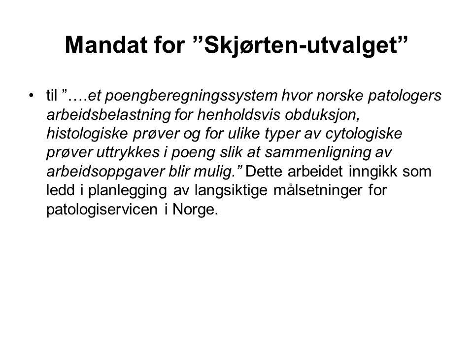 Skjørten-utvalgets innstilling Utvalget vil for den første perioden foreslå en tillempning av de svenske normer, hvor de forskjellige undersøkelsers relative arbeidsbelastning er uttrykt i enheter, svarende til de såkalte Fors-enheter .