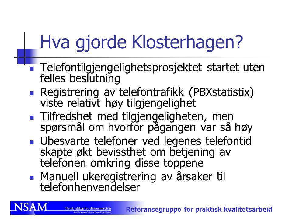 Referansegruppe for praktisk kvalitetsarbeid Hva gjorde Klosterhagen? Telefontilgjengelighetsprosjektet startet uten felles beslutning Registrering av