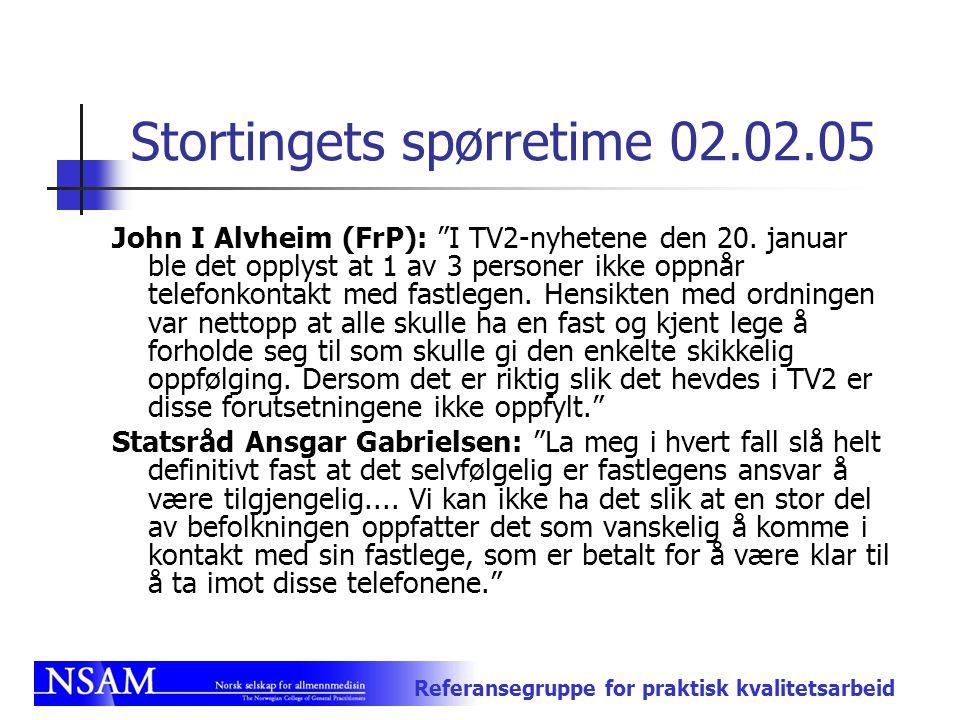 """Referansegruppe for praktisk kvalitetsarbeid Stortingets spørretime 02.02.05 John I Alvheim (FrP): """"I TV2-nyhetene den 20. januar ble det opplyst at 1"""