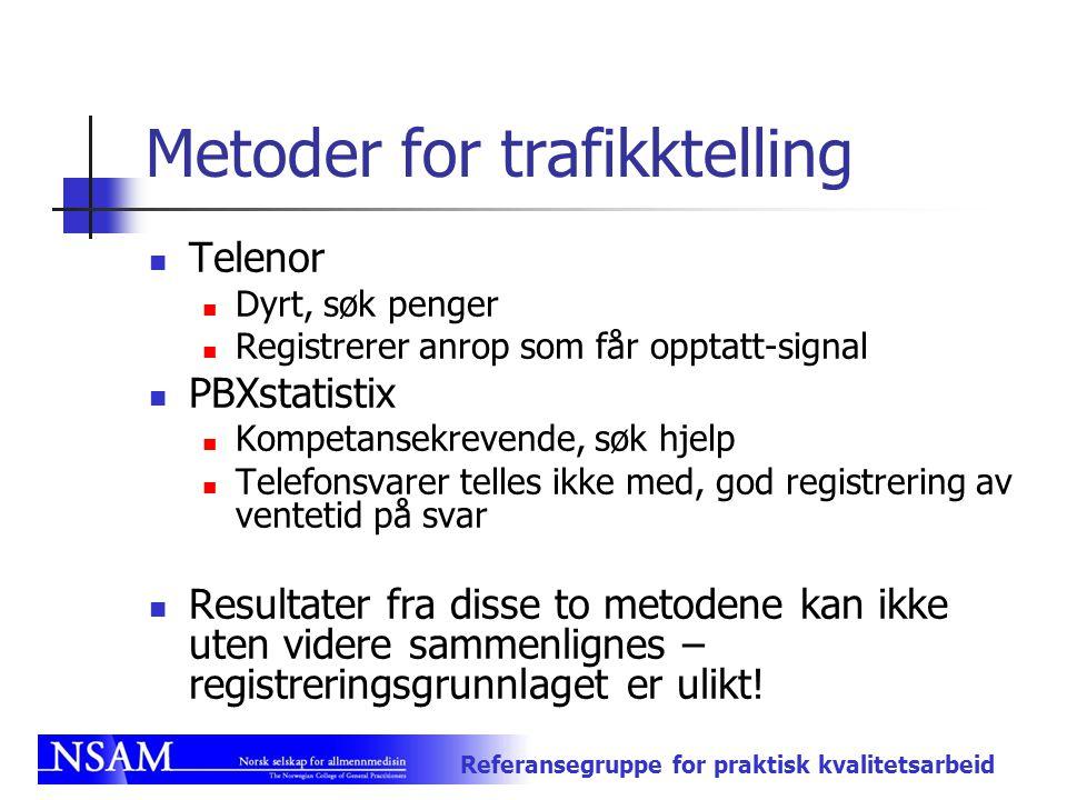 Referansegruppe for praktisk kvalitetsarbeid Metoder for trafikktelling Telenor Dyrt, søk penger Registrerer anrop som får opptatt-signal PBXstatistix