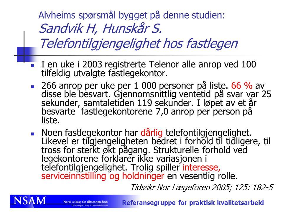Referansegruppe for praktisk kvalitetsarbeid Alvheims spørsmål bygget på denne studien: Sandvik H, Hunskår S. Telefontilgjengelighet hos fastlegen I e