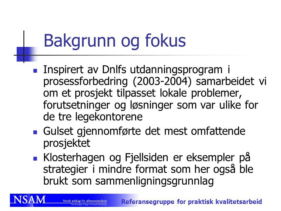 Referansegruppe for praktisk kvalitetsarbeid Bakgrunn og fokus Inspirert av Dnlfs utdanningsprogram i prosessforbedring (2003-2004) samarbeidet vi om