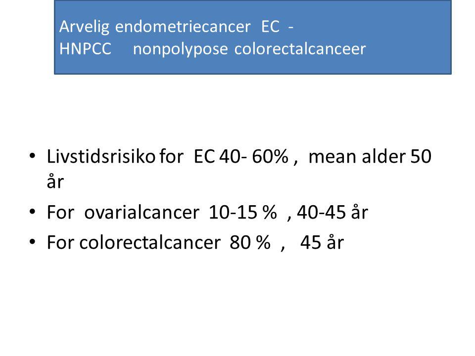 Arvelig endometriecancer EC - HNPCC nonpolypose colorectalcanceer Livstidsrisiko for EC 40- 60%, mean alder 50 år For ovarialcancer 10-15 %, 40-45 år