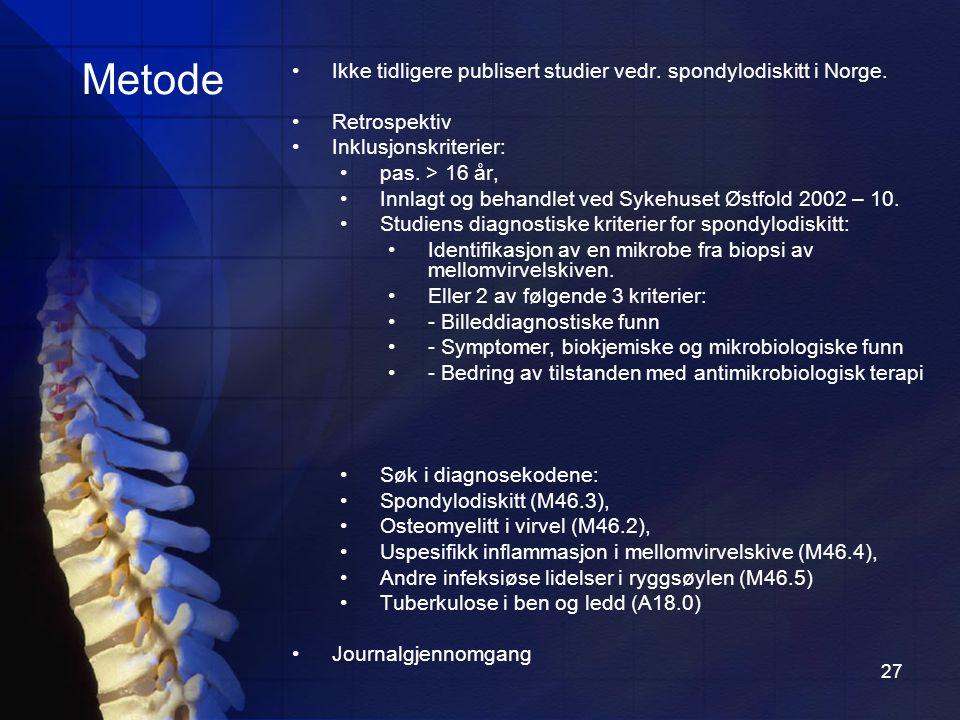 27 Metode Ikke tidligere publisert studier vedr.spondylodiskitt i Norge.
