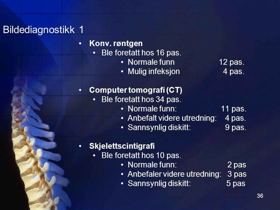 36 Bildediagnostikk 1 Konv.røntgen Ble foretatt hos 16 pas.
