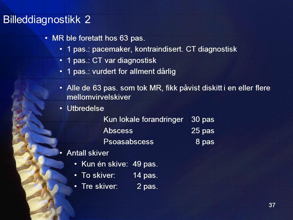 37 MR ble foretatt hos 63 pas.1 pas.: pacemaker, kontraindisert.