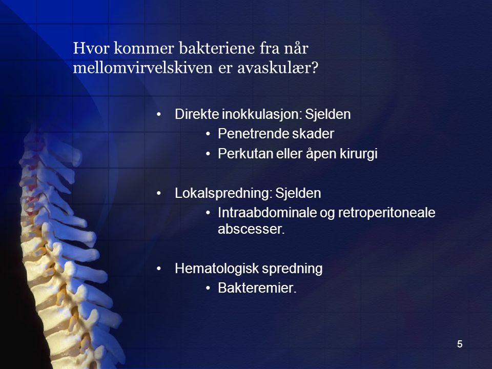 6 I vestlige land: 1-3/100 000 I enkelte afrikanske land: rapportert til opptil 11 % av legeoppsøkte ryggsmerter.