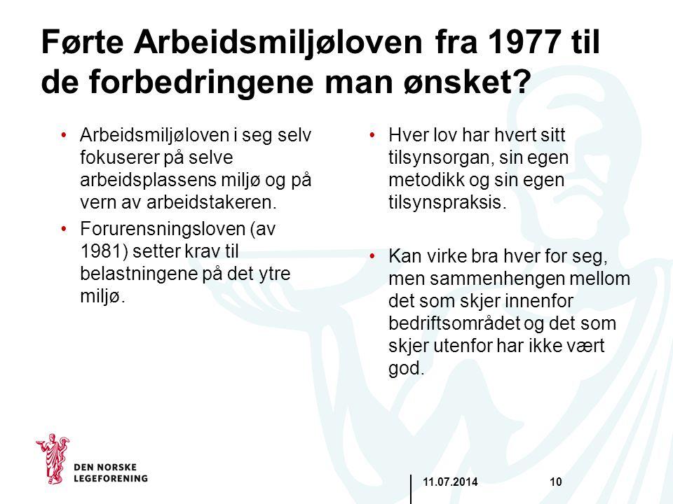 11.07.201410 Førte Arbeidsmiljøloven fra 1977 til de forbedringene man ønsket? Arbeidsmiljøloven i seg selv fokuserer på selve arbeidsplassens miljø o