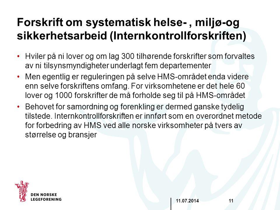 11.07.201411 Forskrift om systematisk helse-, miljø-og sikkerhetsarbeid (Internkontrollforskriften) Hviler på ni lover og om lag 300 tilhørende forskr