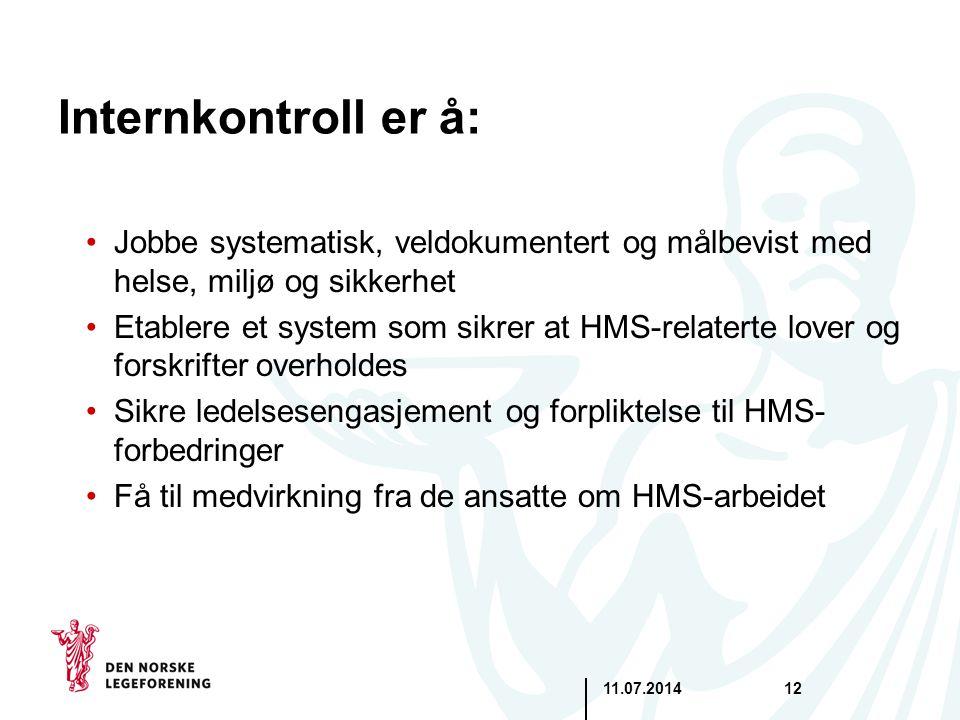 11.07.201412 Internkontroll er å: Jobbe systematisk, veldokumentert og målbevist med helse, miljø og sikkerhet Etablere et system som sikrer at HMS-re