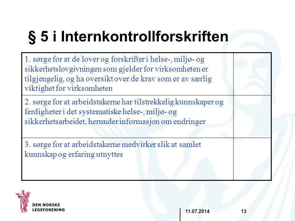 11.07.201413 § 5 i Internkontrollforskriften 1. sørge for at de lover og forskrifter i helse-, miljø- og sikkerhetslovgivningen som gjelder for virkso