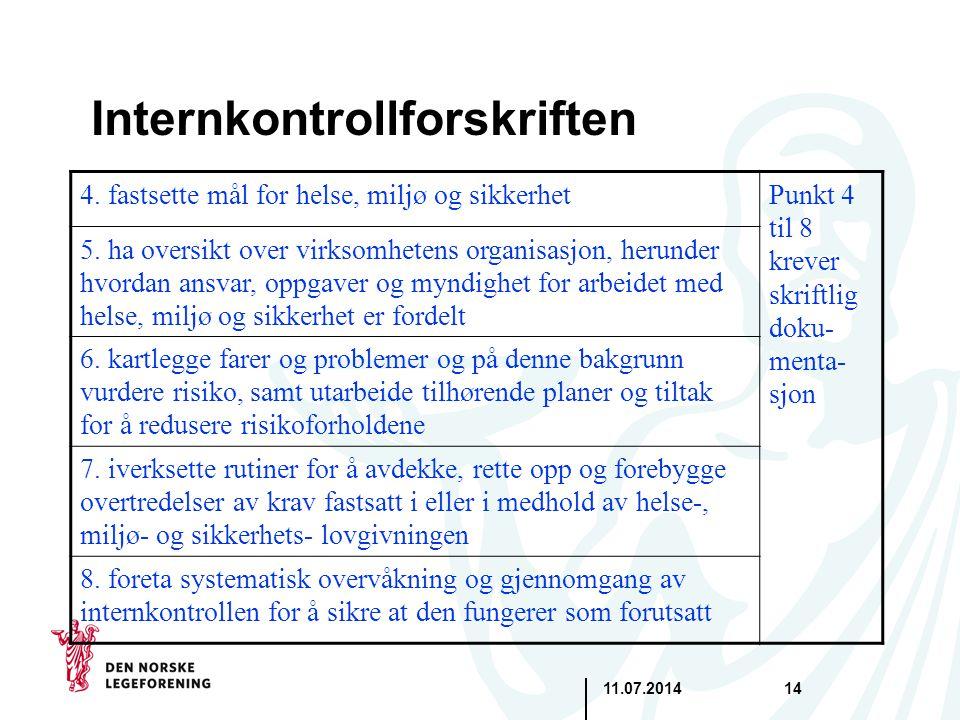 11.07.201414 Internkontrollforskriften 4. fastsette mål for helse, miljø og sikkerhetPunkt 4 til 8 krever skriftlig doku- menta- sjon 5. ha oversikt o