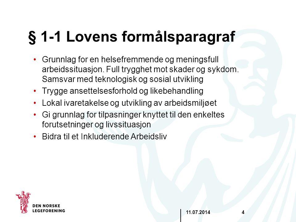 11.07.20144 § 1-1 Lovens formålsparagraf Grunnlag for en helsefremmende og meningsfull arbeidssituasjon. Full trygghet mot skader og sykdom. Samsvar m