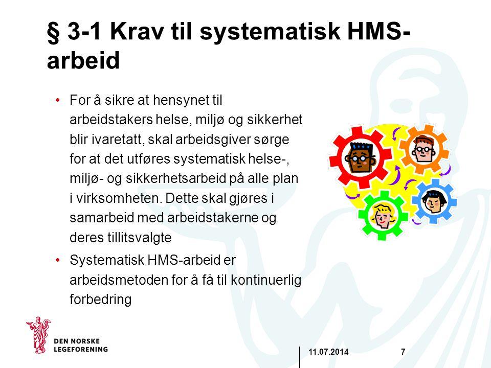 11.07.20147 § 3-1 Krav til systematisk HMS- arbeid For å sikre at hensynet til arbeidstakers helse, miljø og sikkerhet blir ivaretatt, skal arbeidsgiv