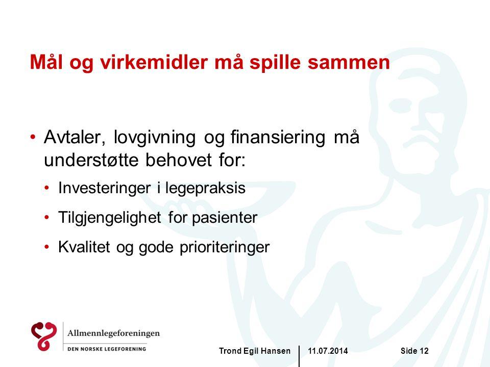 Mål og virkemidler må spille sammen Avtaler, lovgivning og finansiering må understøtte behovet for: Investeringer i legepraksis Tilgjengelighet for pasienter Kvalitet og gode prioriteringer 11.07.2014Trond Egil HansenSide 12