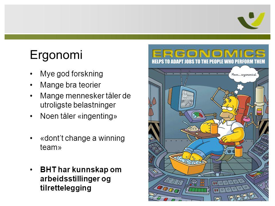 Ergonomi Mye god forskning Mange bra teorier Mange mennesker tåler de utroligste belastninger Noen tåler «ingenting» «dont't change a winning team» BH