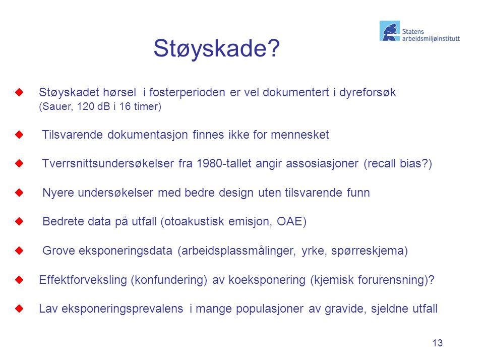 13  Støyskadet hørsel i fosterperioden er vel dokumentert i dyreforsøk (Sauer, 120 dB i 16 timer)  Tilsvarende dokumentasjon finnes ikke for mennesk