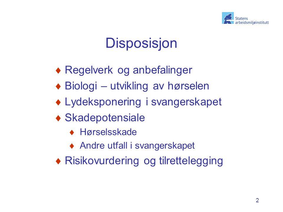 2 Disposisjon  Regelverk og anbefalinger  Biologi – utvikling av hørselen  Lydeksponering i svangerskapet  Skadepotensiale  Hørselsskade  Andre