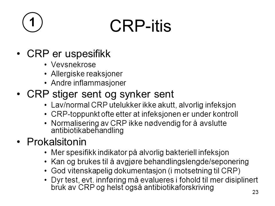23 CRP-itis CRP er uspesifikk Vevsnekrose Allergiske reaksjoner Andre inflammasjoner CRP stiger sent og synker sent Lav/normal CRP utelukker ikke akutt, alvorlig infeksjon CRP-toppunkt ofte etter at infeksjonen er under kontroll Normalisering av CRP ikke nødvendig for å avslutte antibiotikabehandling Prokalsitonin Mer spesifikk indikator på alvorlig bakteriell infeksjon Kan og brukes til å avgjøre behandlingslengde/seponering God vitenskapelig dokumentasjon (i motsetning til CRP) Dyr test, evt.