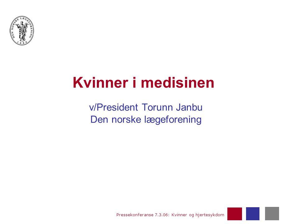Pressekonferanse 7.3.06: Kvinner og hjertesykdom Kvinner i medisinen v/President Torunn Janbu Den norske lægeforening