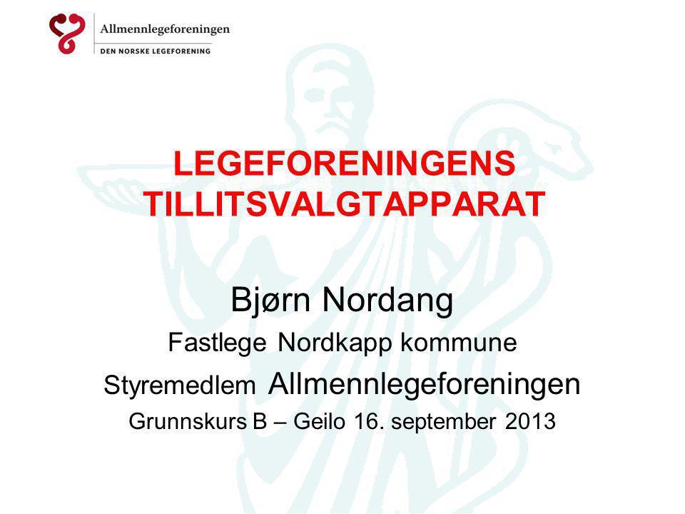LEGEFORENINGENS TILLITSVALGTAPPARAT Bjørn Nordang Fastlege Nordkapp kommune Styremedlem Allmennlegeforeningen Grunnskurs B – Geilo 16. september 2013