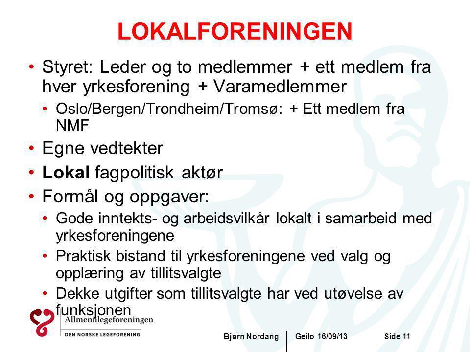 Geilo 16/09/13Bjørn NordangSide 11 LOKALFORENINGEN Styret: Leder og to medlemmer + ett medlem fra hver yrkesforening + Varamedlemmer Oslo/Bergen/Trond