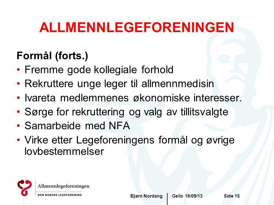 Geilo 16/09/13Bjørn NordangSide 15 ALLMENNLEGEFORENINGEN Formål (forts.) Fremme gode kollegiale forhold Rekruttere unge leger til allmennmedisin Ivare