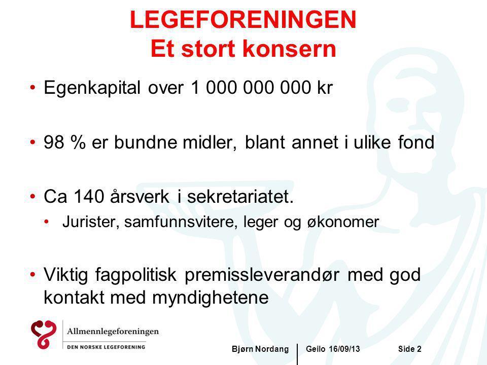 Geilo 16/09/13Bjørn NordangSide 2 LEGEFORENINGEN Et stort konsern Egenkapital over 1 000 000 000 kr 98 % er bundne midler, blant annet i ulike fond Ca