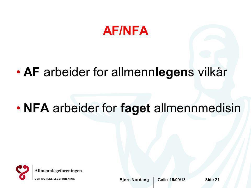 Geilo 16/09/13Bjørn NordangSide 21 AF/NFA AF arbeider for allmennlegens vilkår NFA arbeider for faget allmennmedisin