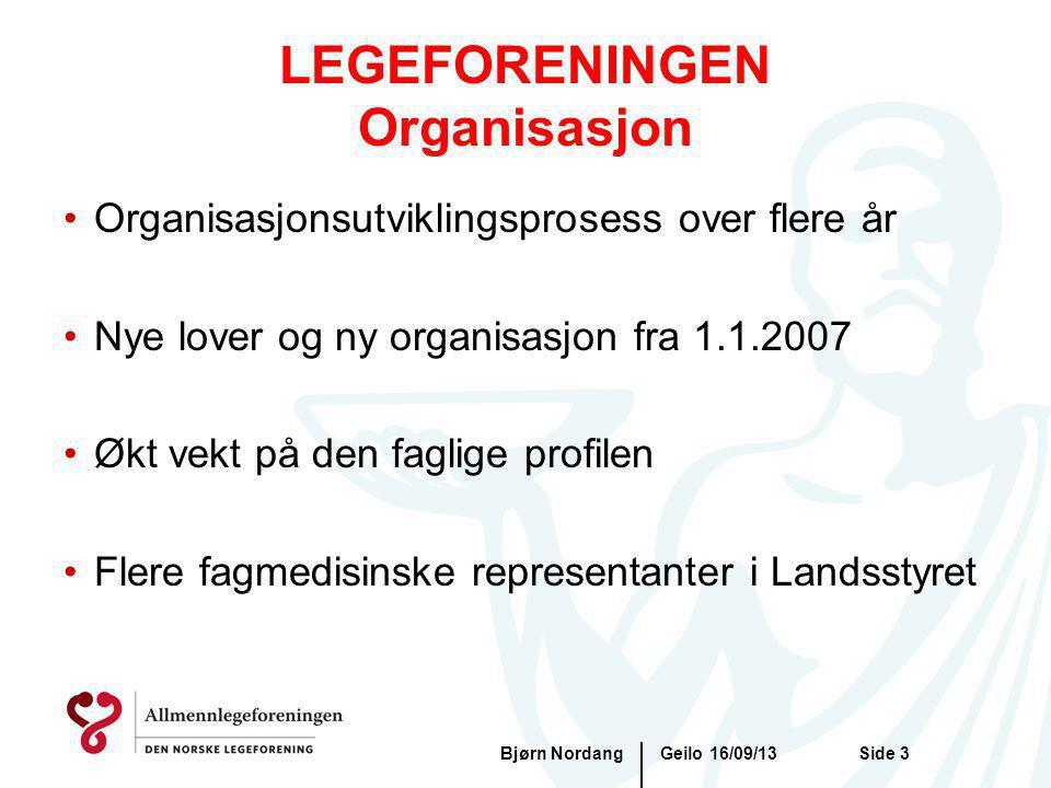 Geilo 16/09/13Bjørn NordangSide 3 LEGEFORENINGEN Organisasjon Organisasjonsutviklingsprosess over flere år Nye lover og ny organisasjon fra 1.1.2007 Ø