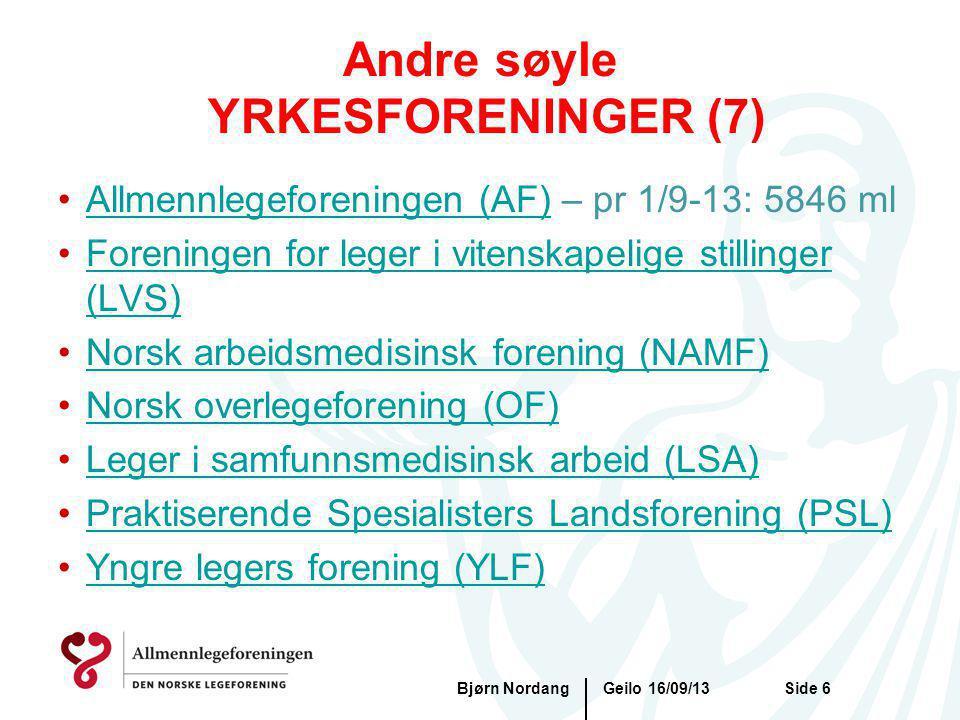 Geilo 16/09/13Bjørn NordangSide 6 Andre søyle YRKESFORENINGER (7) Allmennlegeforeningen (AF) – pr 1/9-13: 5846 mlAllmennlegeforeningen (AF) Foreningen