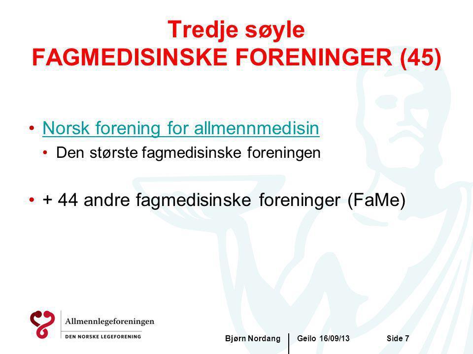 Geilo 16/09/13Bjørn NordangSide 7 Tredje søyle FAGMEDISINSKE FORENINGER (45) Norsk forening for allmennmedisin Den største fagmedisinske foreningen +