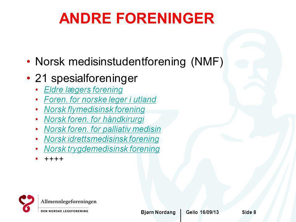 ANDRE FORENINGER Norsk medisinstudentforening (NMF) 21 spesialforeninger Eldre lægers forening Foren. for norske leger i utland Norsk flymedisinsk for