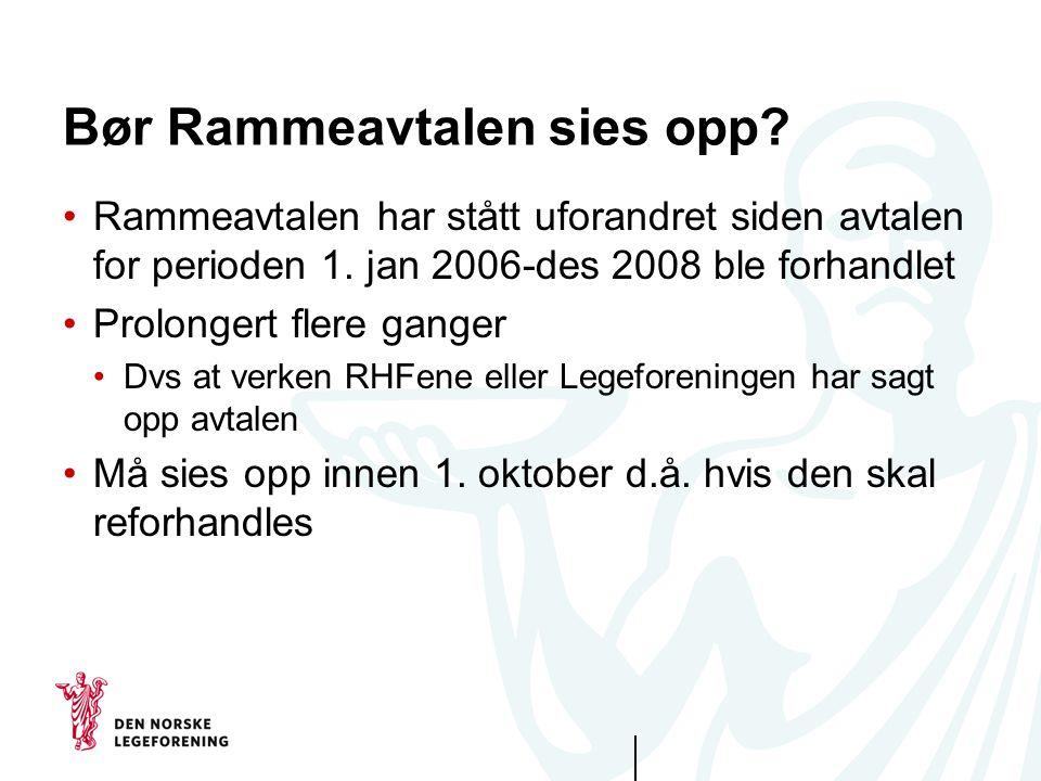 Bør Rammeavtalen sies opp? Rammeavtalen har stått uforandret siden avtalen for perioden 1. jan 2006-des 2008 ble forhandlet Prolongert flere ganger Dv