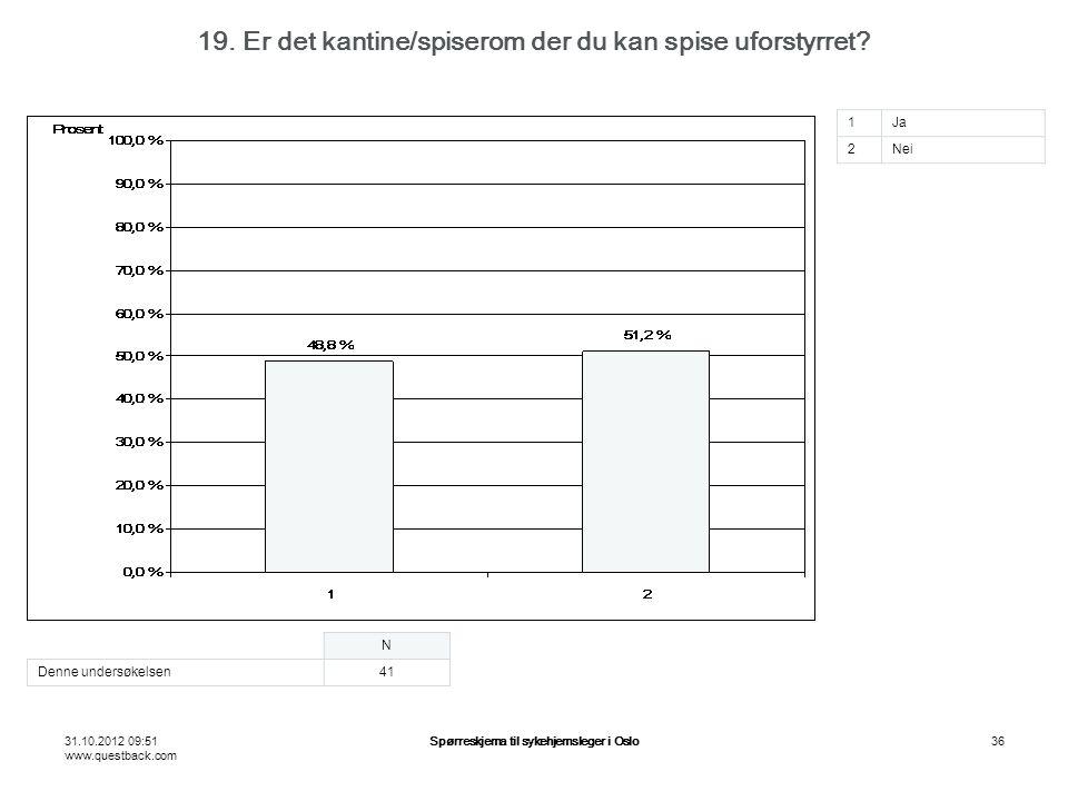 31.10.2012 09:51 www.questback.com Spørreskjema til sykehjemsleger i Oslo36 19. Er det kantine/spiserom der du kan spise uforstyrret? N Denne undersøk