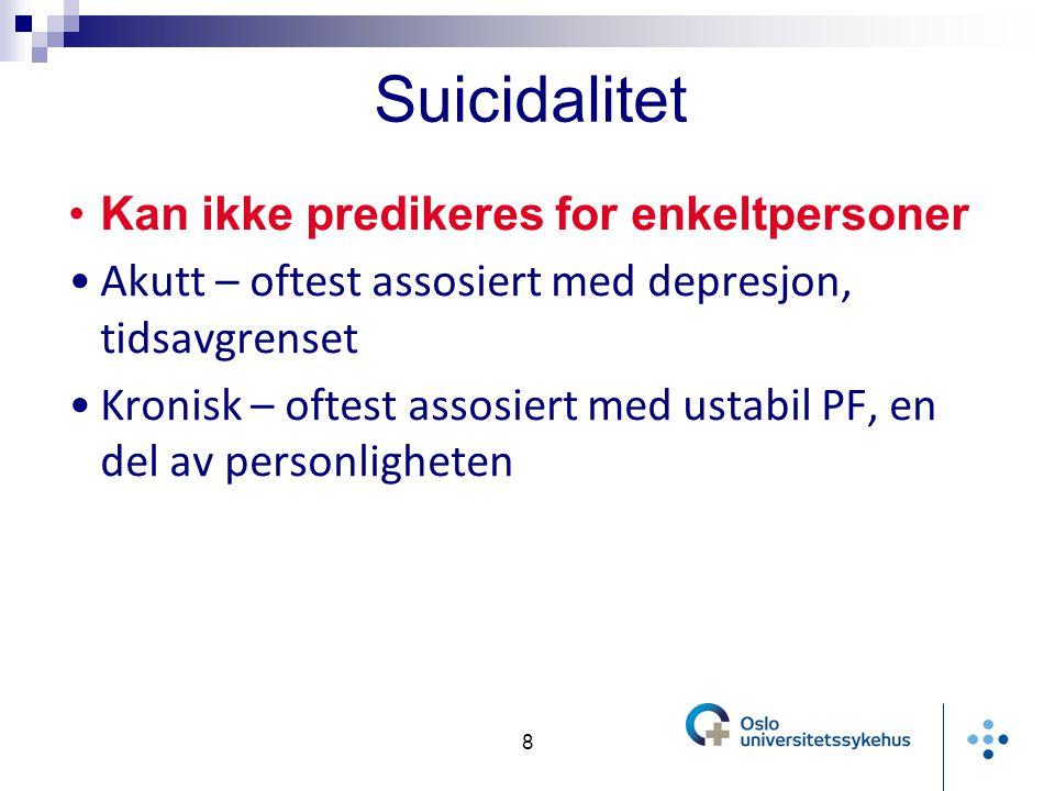 Kan ikke predikeres for enkeltpersoner Akutt – oftest assosiert med depresjon, tidsavgrenset Kronisk – oftest assosiert med ustabil PF, en del av personligheten 8 Suicidalitet
