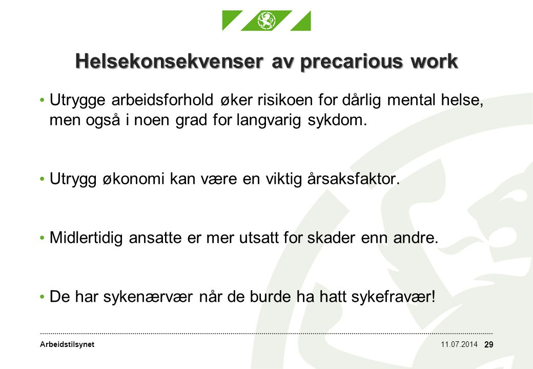 Arbeidstilsynet Svakheten ved midlertidig ansettelse Odd Friberg, tidligere juridisk direktør i Arbeidstilsynet: Et trygt tilsetningsforhold er en garanti for at arbeidstakerne kan ta opp arbeidsmiljøspørsmål uten konsekvenser for deres stilling .