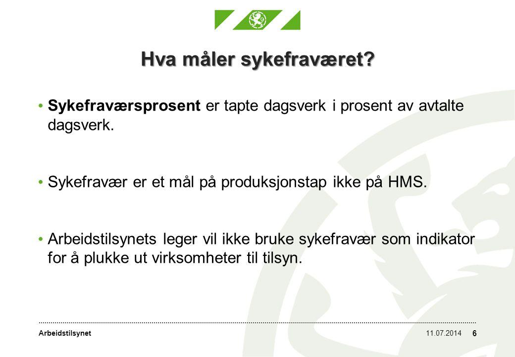 Arbeidstilsynet Arbeidsmiljø og helse 11.07.2014 7