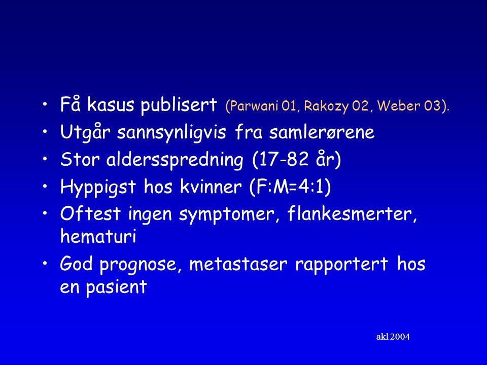 akl 2004 Få kasus publisert (Parwani 01, Rakozy 02, Weber 03).