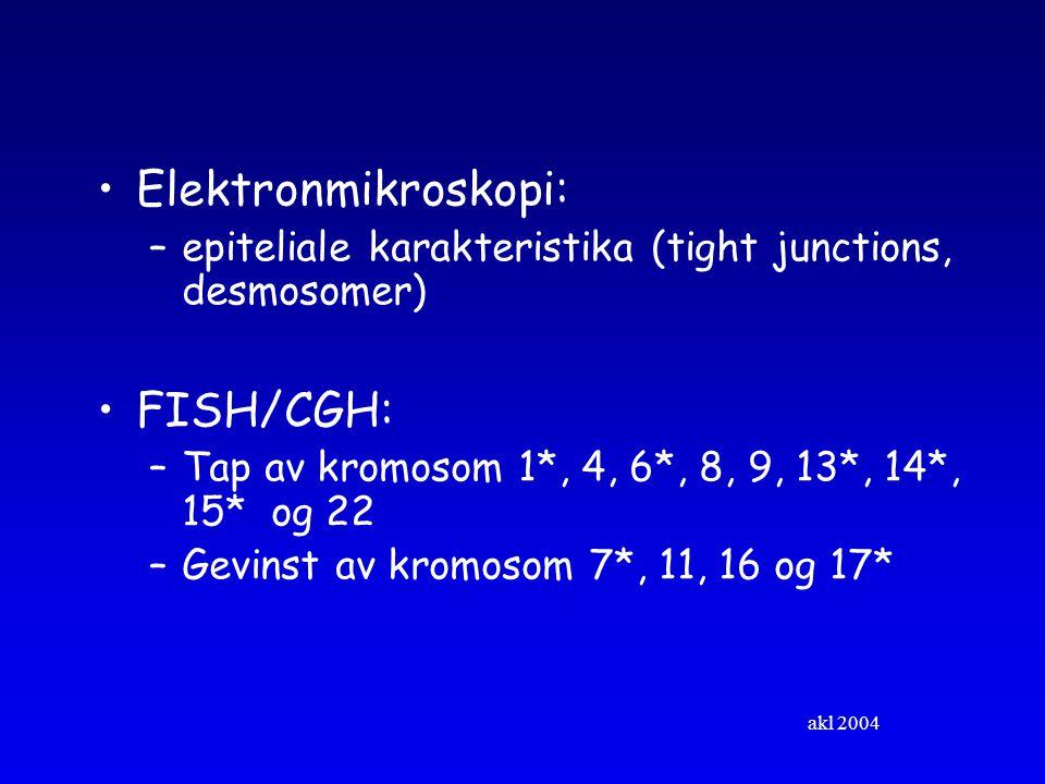 akl 2004 Elektronmikroskopi: –epiteliale karakteristika (tight junctions, desmosomer) FISH/CGH: –Tap av kromosom 1*, 4, 6*, 8, 9, 13*, 14*, 15* og 22 –Gevinst av kromosom 7*, 11, 16 og 17*