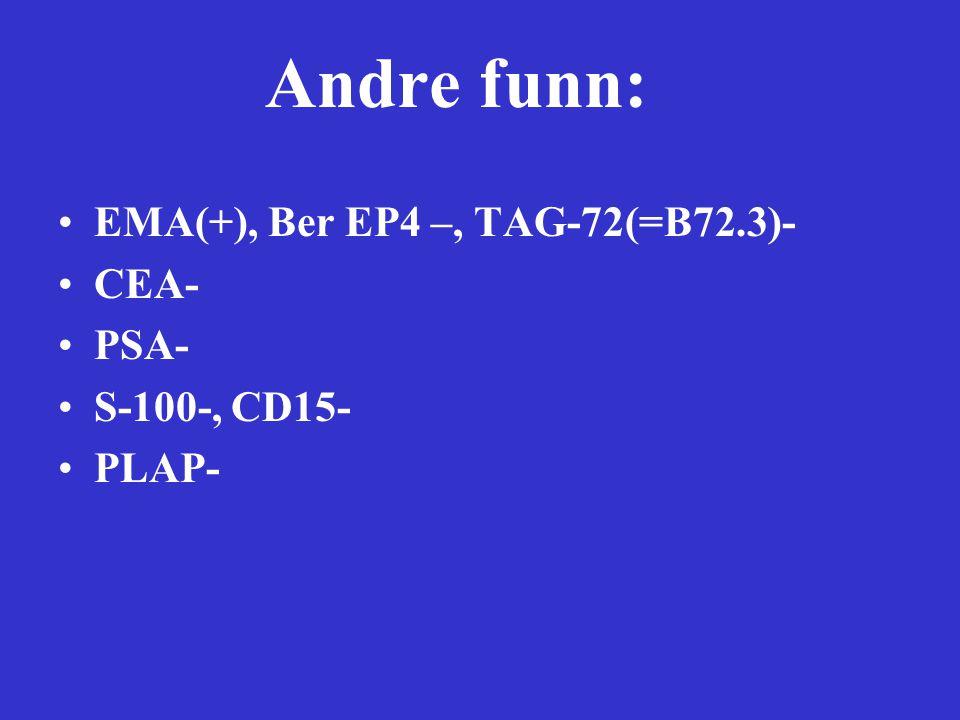 Andre funn: EMA(+), Ber EP4 –, TAG-72(=B72.3)- CEA- PSA- S-100-, CD15- PLAP-