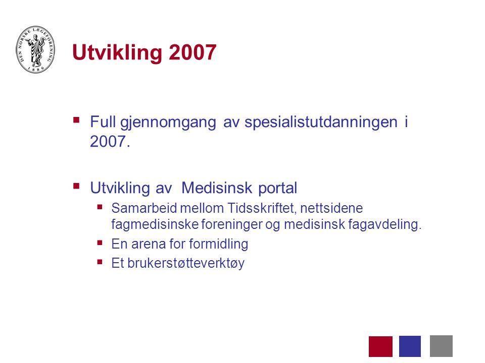 Utvikling 2007  Full gjennomgang av spesialistutdanningen i 2007.